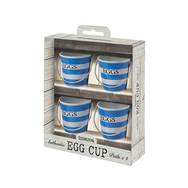 Eddingtons Set Of 4 Blue & White Egg Cup Pails