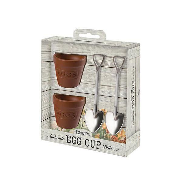 Eddingtons Flower Pot Set Of 2 Egg Cups And Spoons