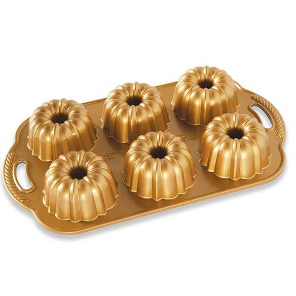 Nordic Ware Anniversary Bundtlette Pan Gold