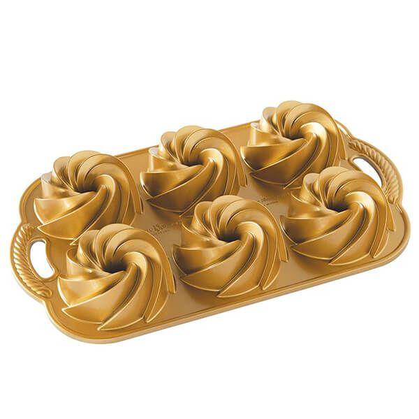 Nordic Ware Heritage Bundtlette Cakes Pan Gold