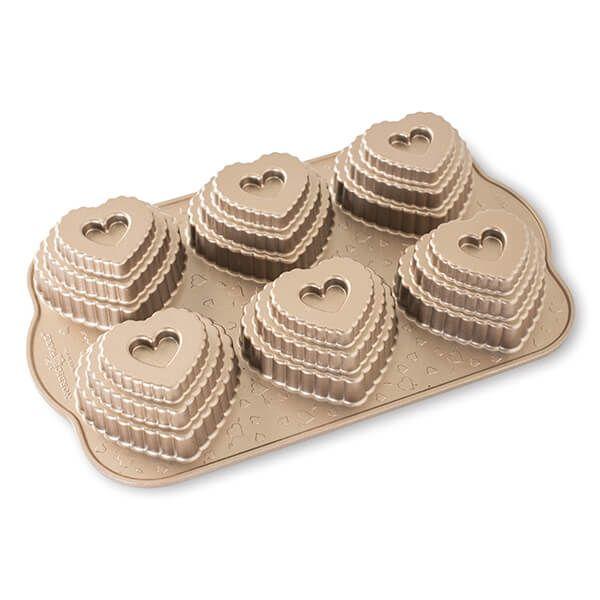 Nordic Ware Toffee Tiered Heart Cakelet Pan
