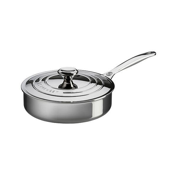 Le Creuset Signature 3-Ply Stainless Steel 24cm Saute Pan With Lid
