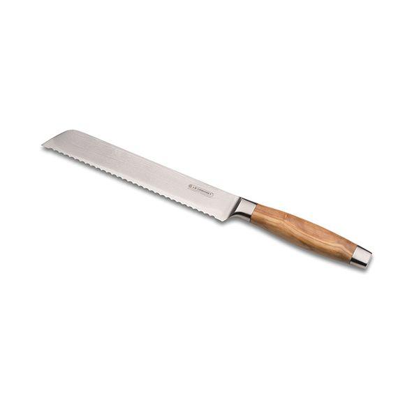 Le Creuset 20cm Bread Knife Olive Wood Handle