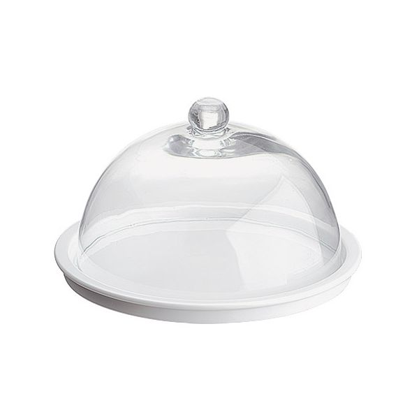 Cheese Platter White & Glass Dome