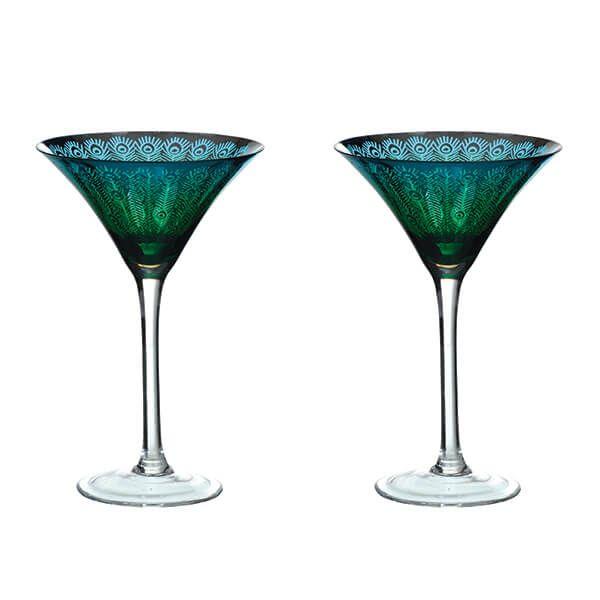 Artland Peacock Set of 2 Martini Glasses