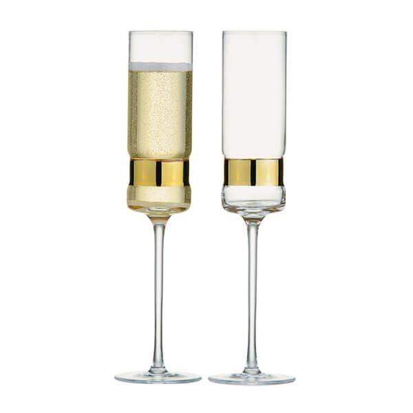 Anton Studios Set of 2 SoHo Champagne Flutes Gold