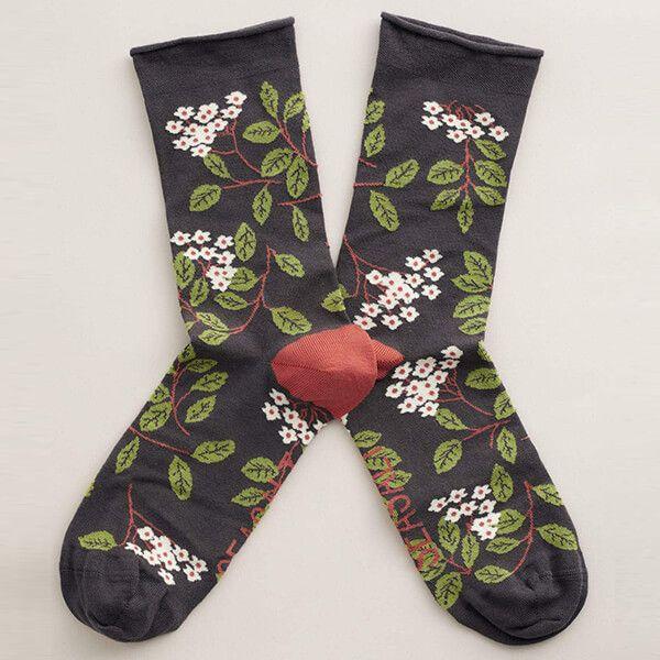 Seasalt Women's Bamboo Arty Socks Elderflower Slate