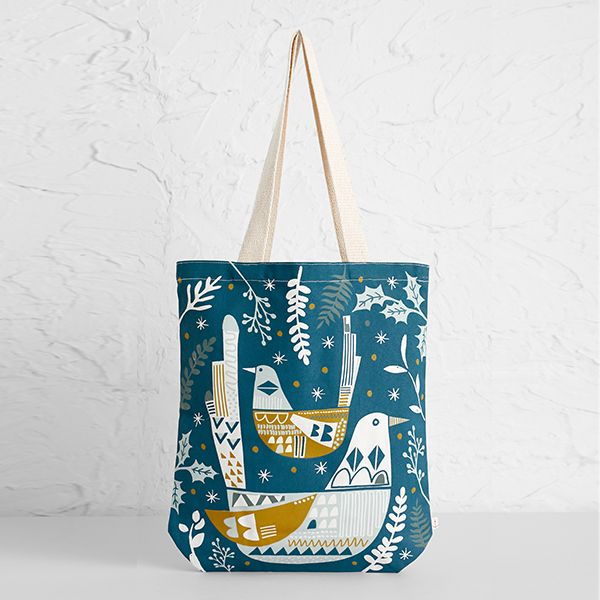 Seasalt Canvas Shopper Two For Joy Storm