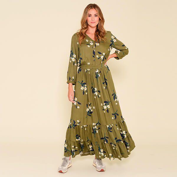Brakeburn Primrose Olive Maxi Shirt Dress