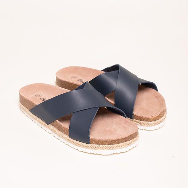 Brakeburn Navy Cross Strap Sandals