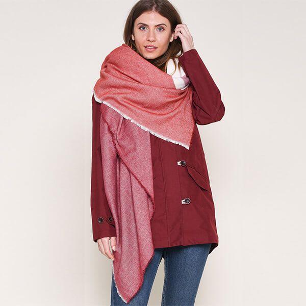 Brakeburn Red Colour Block Blanket Scarf