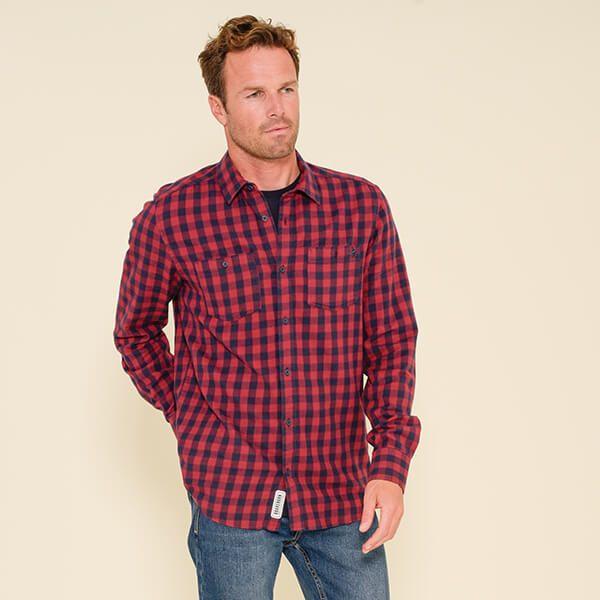 Brakeburn Gingham Check Shirt Burgundy