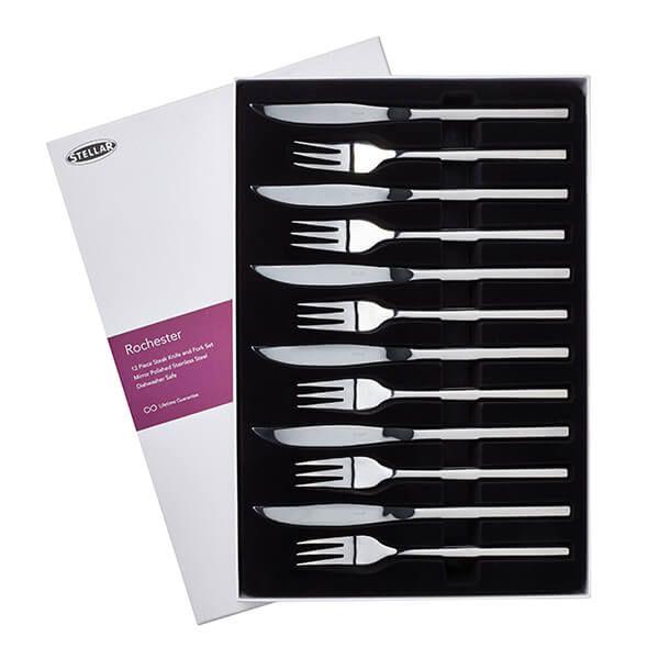 Stellar Rochester Polished Set Of 6 Steak Knives and Forks Gift Box Set