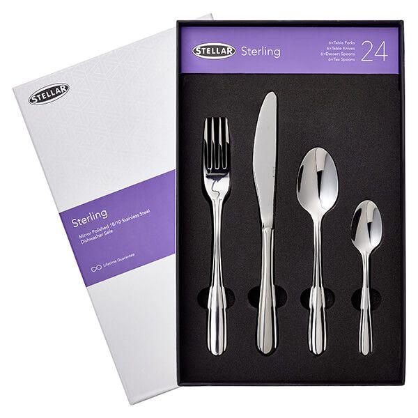 Stellar Sterling Stainless Steel 24 Piece Cutlery Gift Box Set