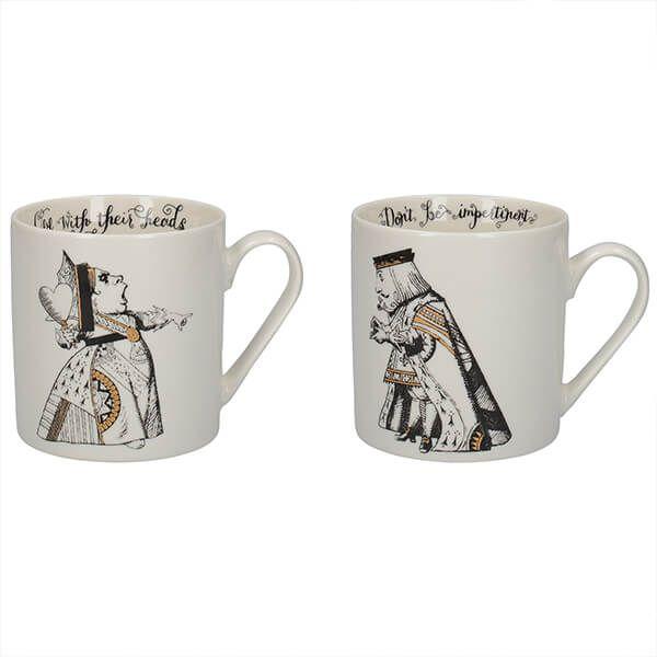 Alice In Wonderland Set Of 2 King & Queen Of Hearts Mugs