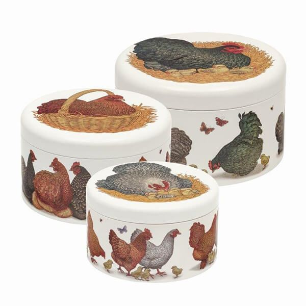 Vanessa Lubach Chickens Set of 3 Round Cake Tins