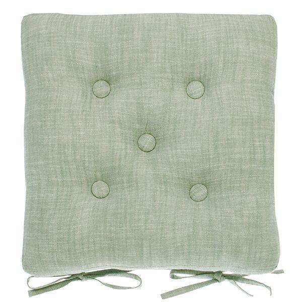 Walton & Co Moss Chambray Seat Pad with Ties