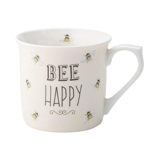 English Tableware Company Bee Happy Cream Fine China Mug