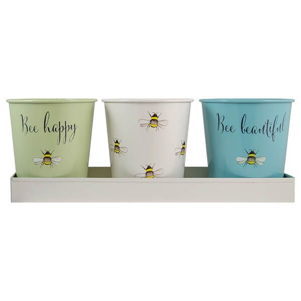 English Tableware Company Bee Happy Painted Steel 3 Pots with Tray