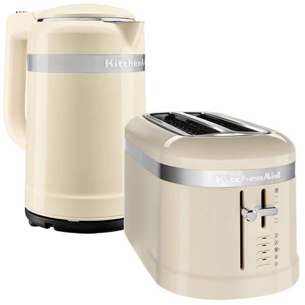 KitchenAid Almond Cream 2 Slot Design Toaster and 1.5 Litre Kettle Set