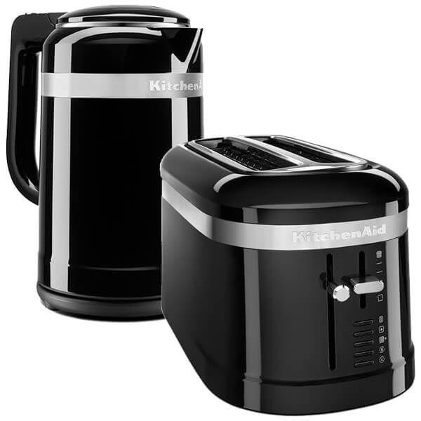 KitchenAid Onyx Black 2 Slot Design Toaster and 1.5 Litre Kettle Set
