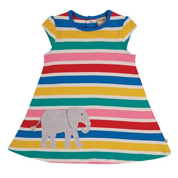 Frugi Organic Rainbow Multistripe/Elephant Gianna Dress