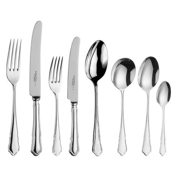 Arthur Price of England Sovereign Silver Plate Dubarry 44 Piece Cutlery Box Set