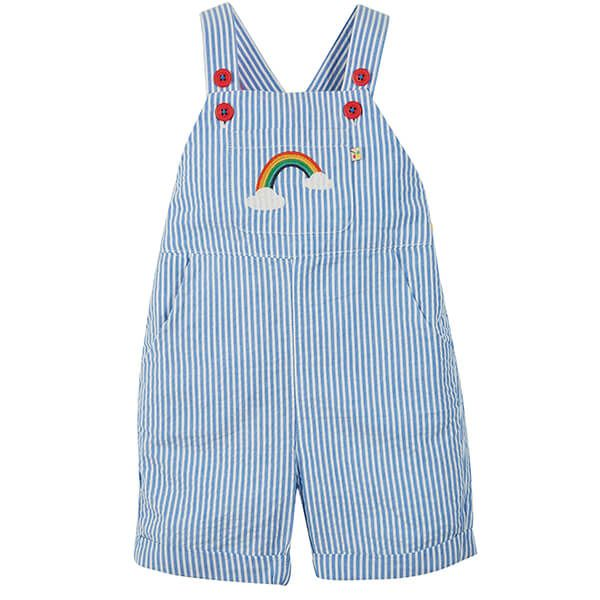 Frugi Organic Cobolt Stripe/Rainbow Godrevy Dungaree
