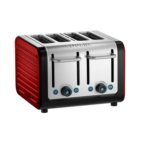 Dualit Architect 4 Slot Black Body With Apple Candy Red Panel Toaster