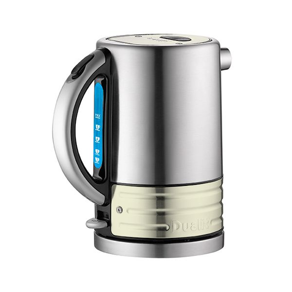 Dualit Architect Brushed Stainless Steel and Canvas White Kettle