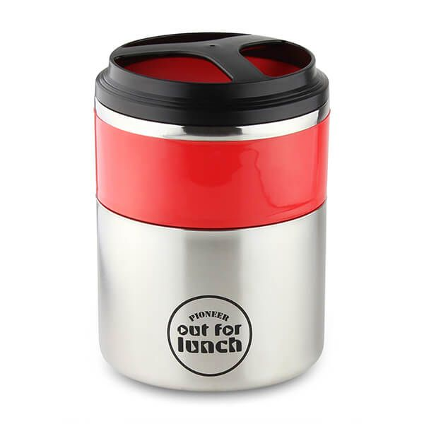 Pioneer Vacuum Lunch Box Red Lid With Double Compartment