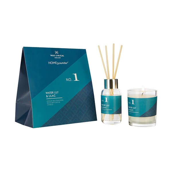 Wax Lyrical Homescenter Water Lily & Lilac Candle & Reed Diffuser Gift Set