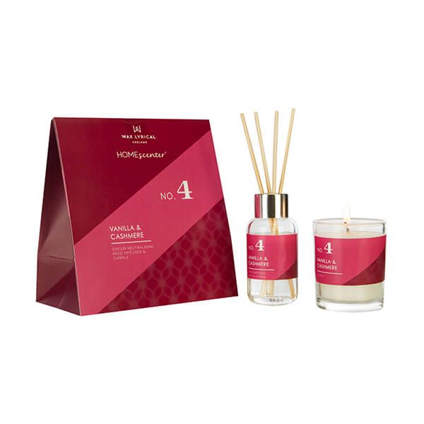 Wax Lyrical Homescenter Vanilla & Cashmere Candle & Reed Diffuser Gift Set