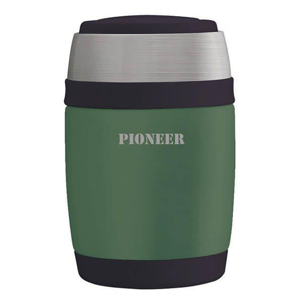 Pioneer 480ml Food Flask with Spoon Metallic Green