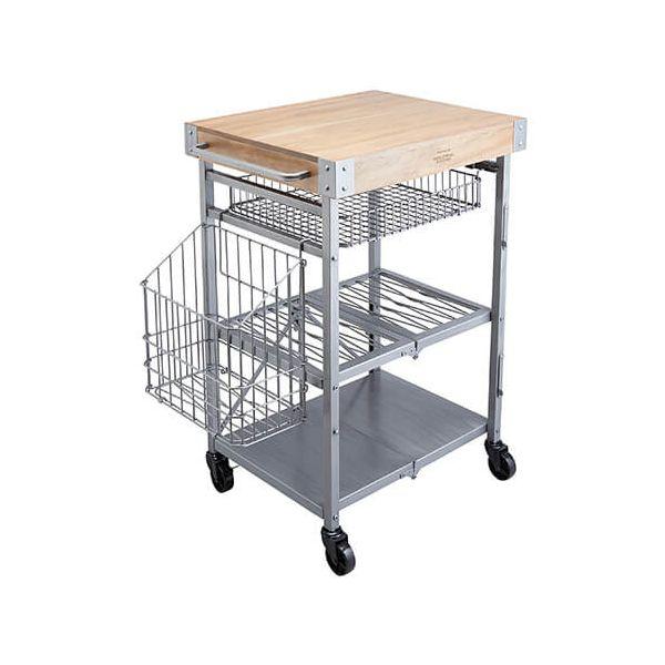Industrial Kitchen Folding Kitchen Trolley Mango Wood