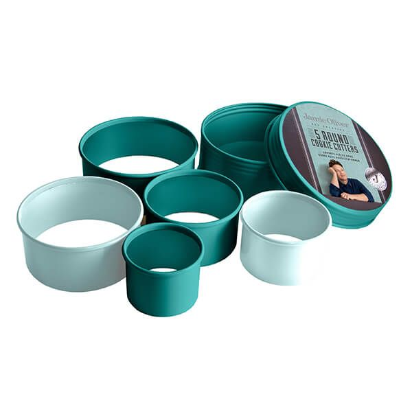 Jamie Oliver Set of 5 Atlantic Green Round Cookie Cutters
