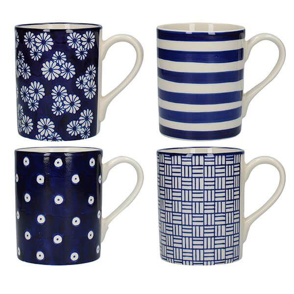 London Pottery Set Of 4 Mugs Straight Blue