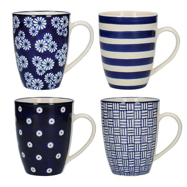 London Pottery Set Of 4 Tulip Mugs Blue