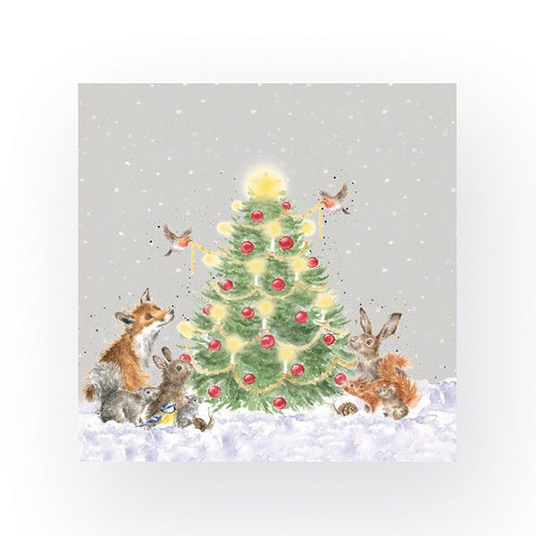 Wrendale Designs Pack of 20 Lunch Size 'Oh Christmas Tree' Woodland Animals Napkins