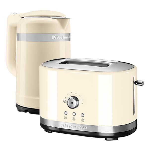 KitchenAid Almond Cream Kettle And Toaster Set