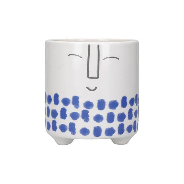 KitchenCraft Ceramic Pot Happy Face Design Blue