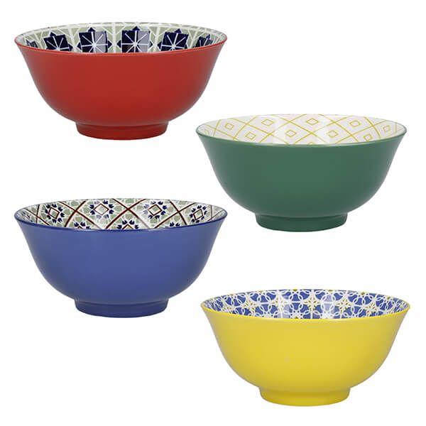 KitchenCraft World Of Flavours Glazed Stoneware Bowl Set of 4