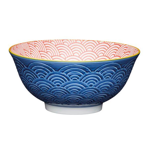KitchenCraft Blue Arched Pattern 15.7cm Ceramic Bowl