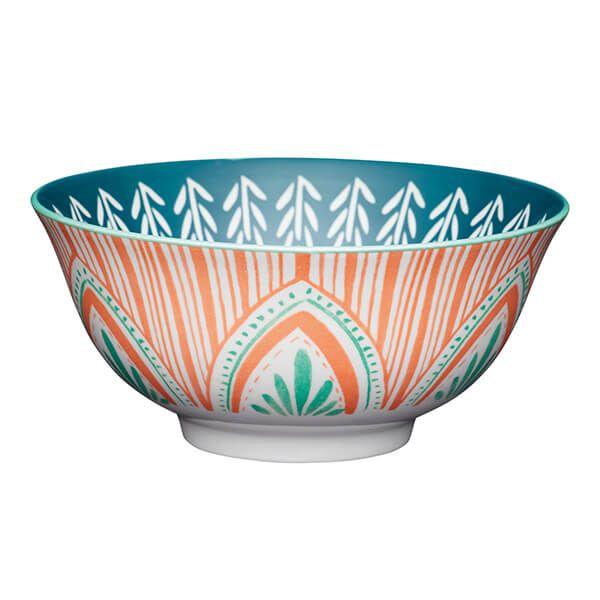 KitchenCraft Colourful Folk Pattern 15.7cm Ceramic Bowl