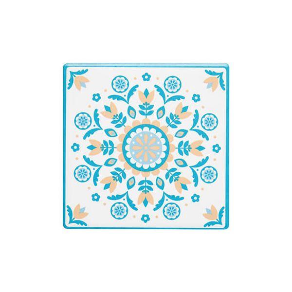 KitchenCraft Moroccan Inspired Green Floral Cork Back Ceramic Coaster