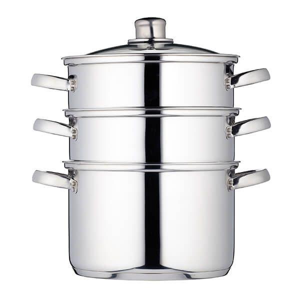 KitchenCraft Stainless Steel Three Tier 22cm Steamer