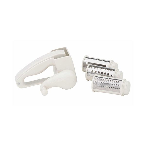 KitchenCraft Plastic Rotary Grater Mill with Three Blades