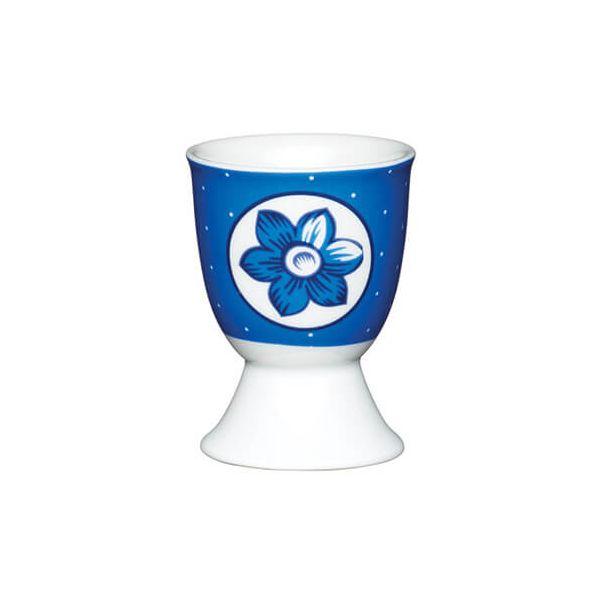 KitchenCraft Blue Spotty Flower Porcelain Egg Cup