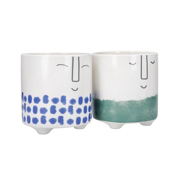 KitchenCraft Ceramic Pot Happy Face Design Set of 2
