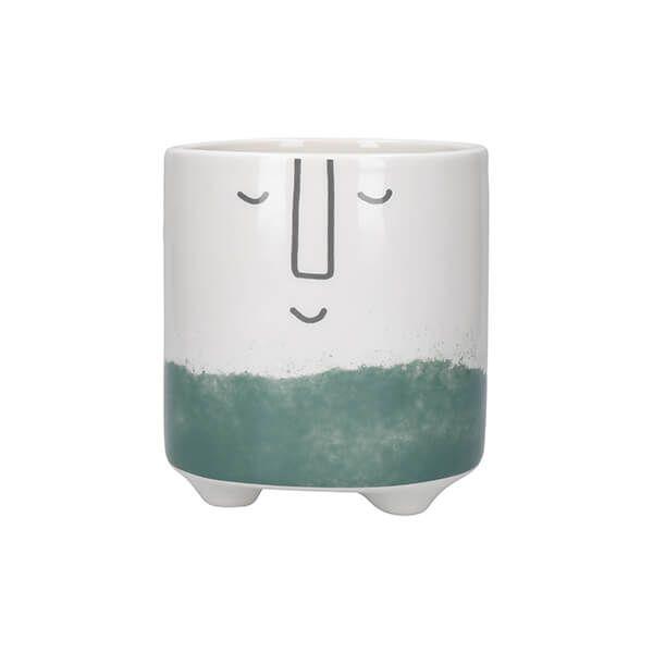 KitchenCraft Ceramic Pot Happy Face Design Green